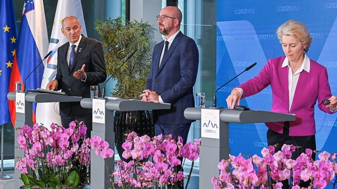 Slovenia's Prime Minister Janez Jansa, European Council President Charles Michel and European Commission President Ursula von der Leyen attend a news conference during the EU-Western Balkans summit in Brdo pri Kranju, Slovenia October 6, 2021. (Reuters)