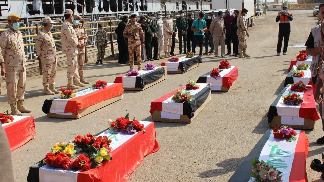 The remains of 11 Iraqi soldiers were repatriated to their homeland on October 6, 2021 under the auspices of the ICRC. (Twitter/@ ICRC_IQ)
