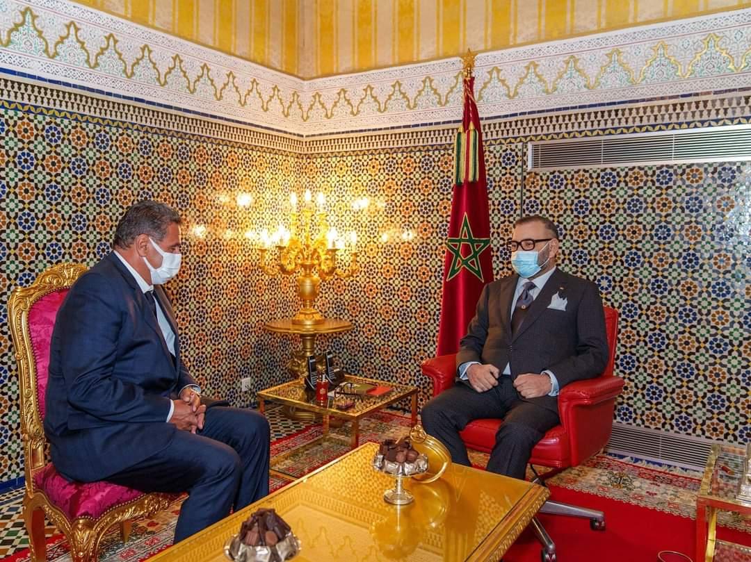 استقبال العاهل المغربي الملك محمد السادس لعزيز أخنوش عقب فوز حزبه بالانتخابات