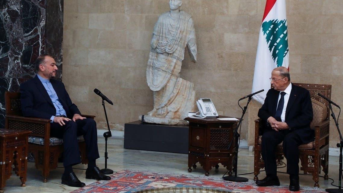 Lebanon's President Michel Aoun meets with Iranian Foreign Minister Hossein Amir Abdollahian at the presidential palace in Baabda, Lebanon October 7, 2021. (Reuters/Mohamed Azakir)