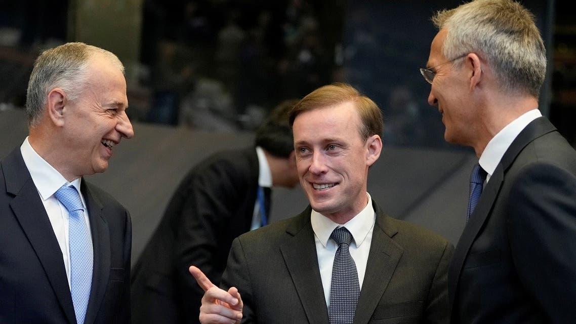 National Security Advisor Jake Sullivan next to NATO Secretary General Jens Stoltenberg and NATO Deputy Secretary General Mircea Geoana, Oct. 7, 2021. (Reuters)