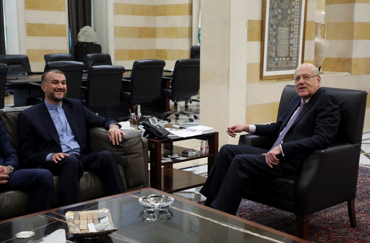 Lebanese Prime Minister Najib Mikati meets with Iranian Foreign Minister Hossein Amir Abdollahian at the government palace in Beirut, Lebanon October 7, 2021. (Reuters/Mohamed Azakir)