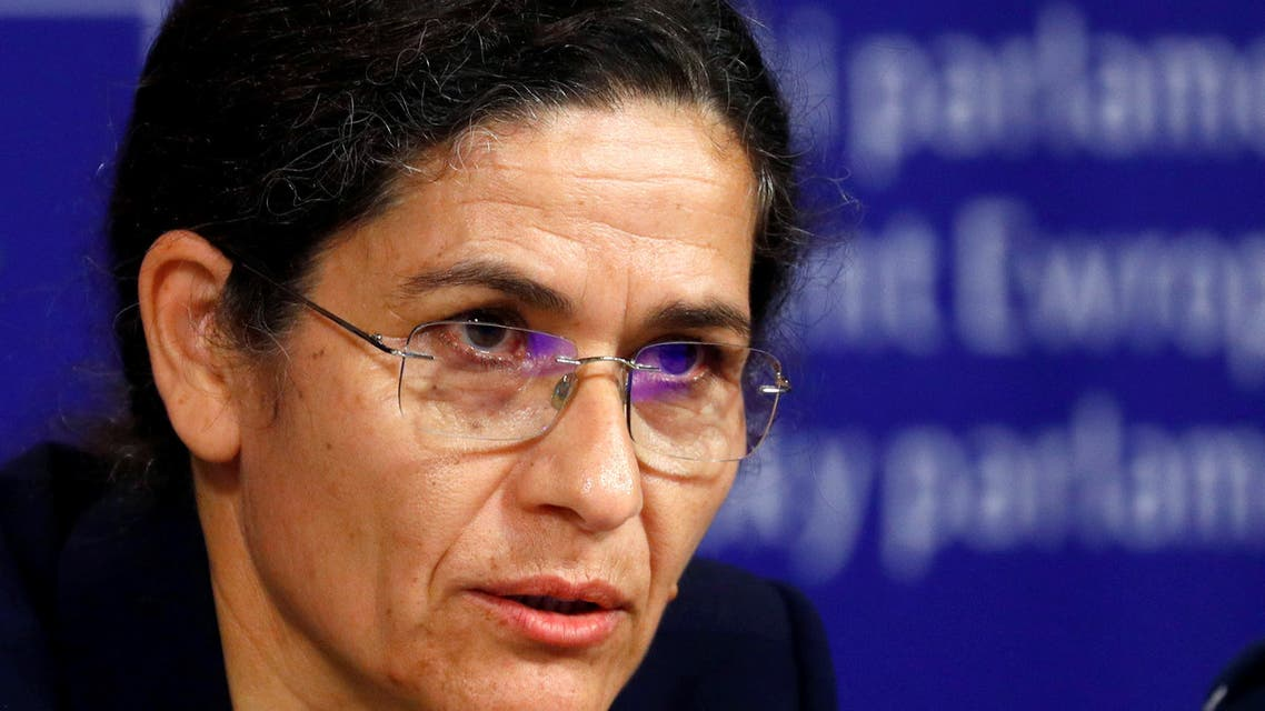 Ilham Ahmed, co-chair of the Syrian Democratic Council (SDC), addresses a news conference at the European Parliament in Brussels, Belgium October 10, 2019. REUTERS/Francois Lenoir