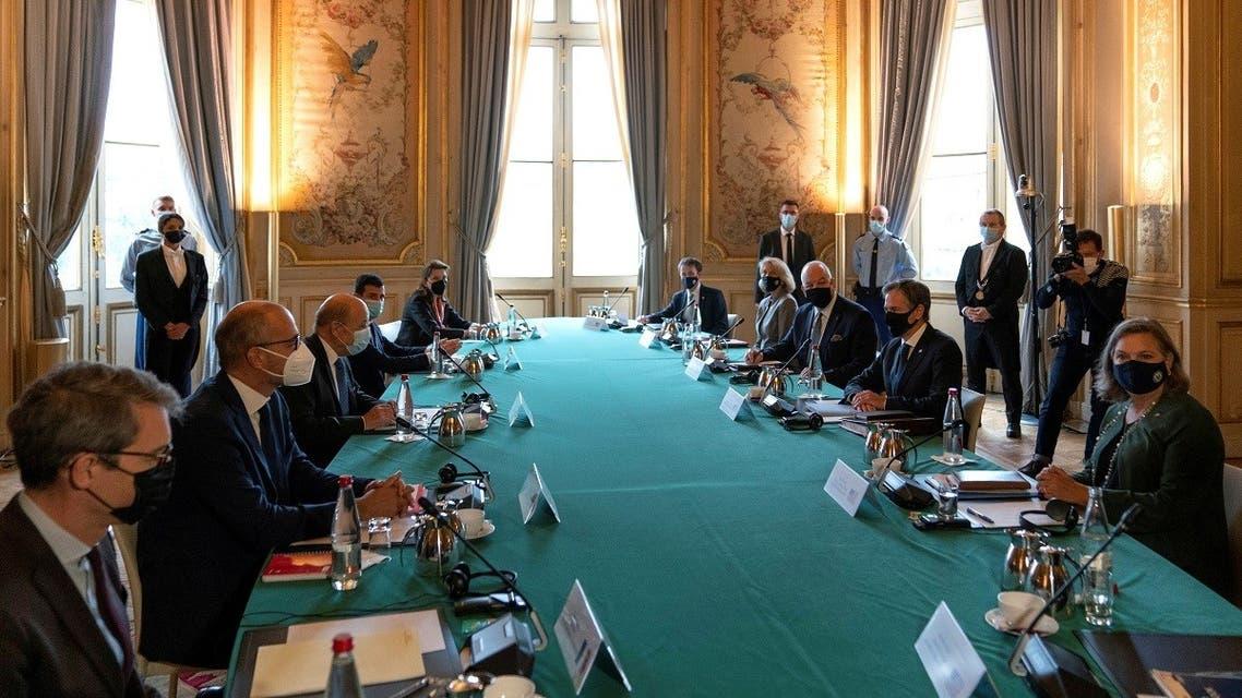 French Foreign Minister Jean-Yves Le Drian meets with U.S. Secretary of State Antony Blinken in Paris, France, on October 5, 2021. (Reuters)