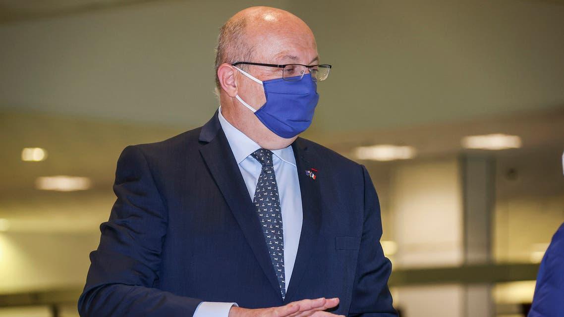 France's Ambassador to Australia Jean-Pierre Thebault gestures as he arrives at Sydney Airport, Saturday Sept. 18, 2021. (AP)