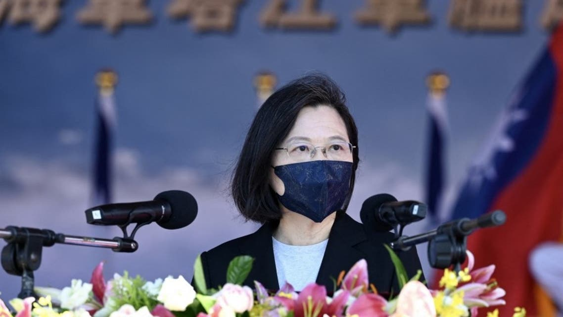 Taiwan's President Tsai Ing-wen speaks during an inauguration ceremony of a Ta Chiang Corvette at a navy base in Yilan on September 9, 2021. (AFP)