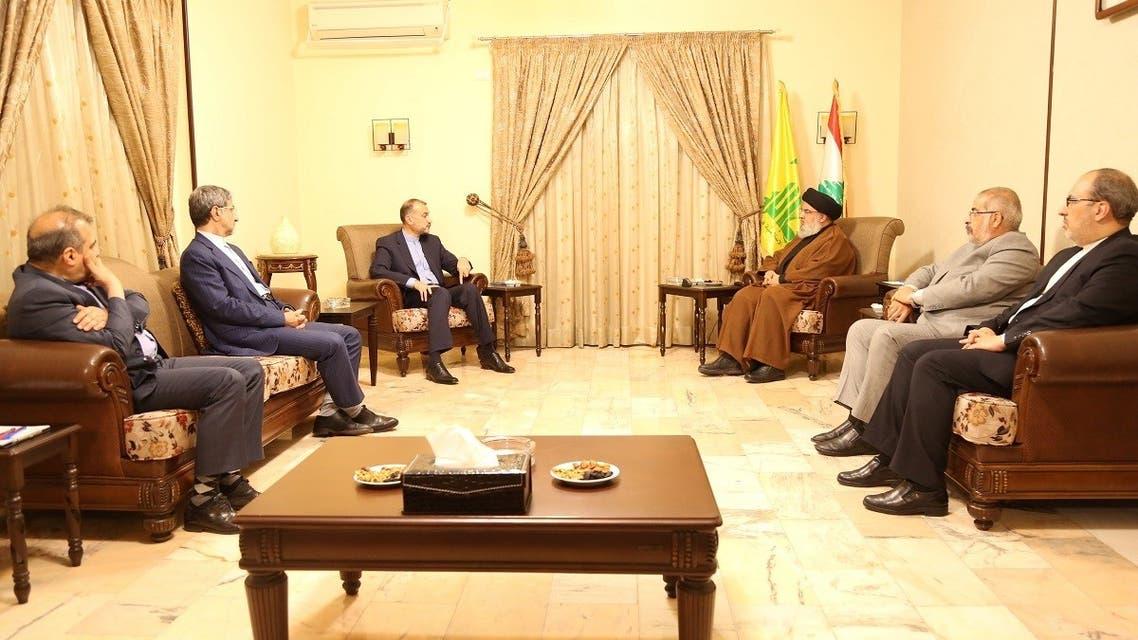 Hezbollah leader Sayyed Hassan Nasrallah meets with Iranian Foreign Minister Hossein Amirabdollahian, Oct. 8, 2021, in Lebanon. (Reuters)