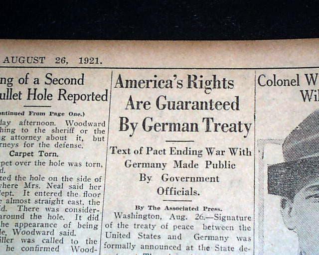 عنوان بإحدى الصحف الأميركية حول المعاهدة الأميركية الألمانية