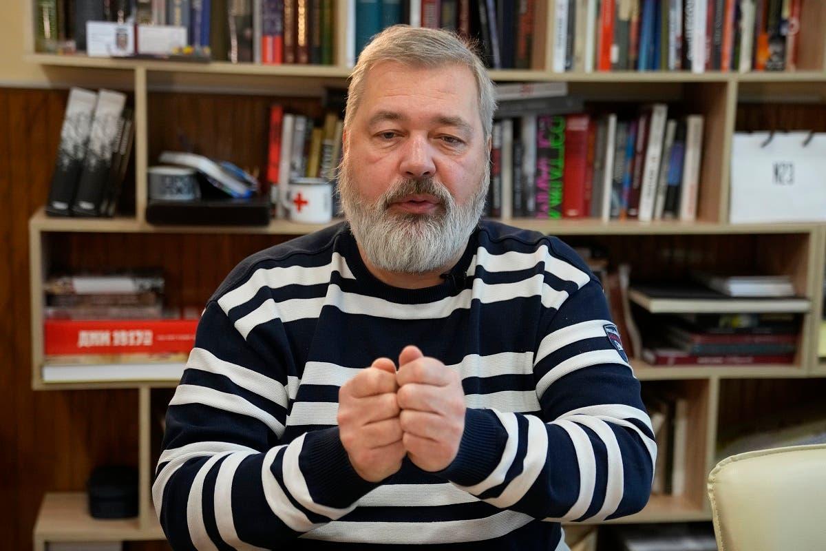 Novaya Gazeta editor Dmitry Muratov speaks during an interview with The Associated Press at the Novaya Gazeta newspaper, in Moscow, Russia, Thursday, Oct. 7, 2021. (AP/Alexander Zemlianichenko)