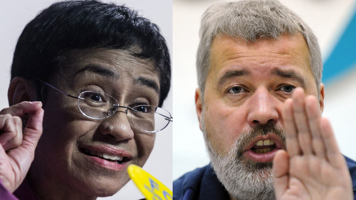 (COMBO) This file combination of pictures created on October 08, 2021, shows Maria Ressa (L), co-founder and CEO of the Philippines-based news website Rappler, speaking at the Human Rights Press Awards at the Foreign Correspondents Club of Hong Kong on on May 16, 2019 and Dmitry Muratov, editor-in-Chief of Russia's main opposition newspaper Novaya Gazeta gestures as he speaks during a news conference in Moscow, on December 11, 2012. The Nobel Peace Prize goes to journalists Maria Ressa (Philippines) and Russian Dmitry Muratov, the Nobel Peace Prize committee announced on October 8, 2021 in Oslo.