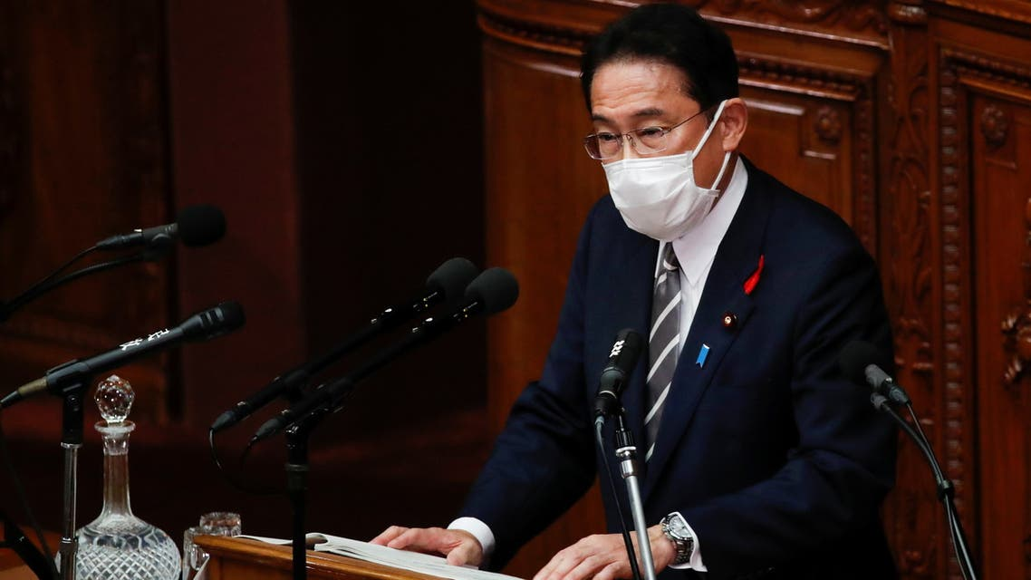 Japan's new prime minister Fumio Kishida delivers his first policy speech at parliament in Tokyo, Japan, October 8, 2021. REUTERS/Kim Kyung-Hoon