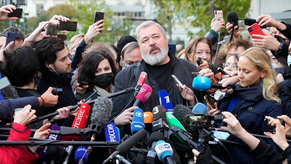 Novaya Gazeta editor Dmitry Muratov talks to media at the Novaya Gazeta newspaper, in Moscow, Russia, on Oct. 8, 2021.  (AP)