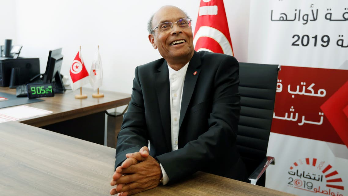 Former Tunisian President Moncef Marzouki submits his candidacy for the presidential election in Tunis, Tunisia August 7, 2019. Picture taken August 7, 2019. REUTERS/Zoubeir Souissi