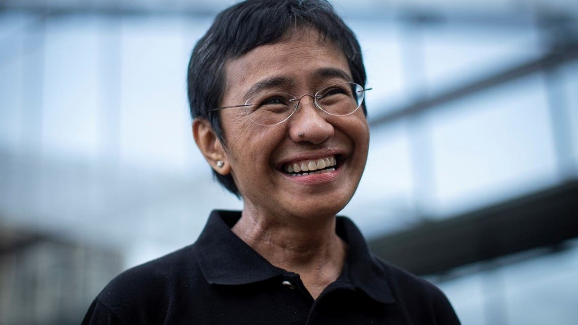 Filipino journalist and Rappler CEO Maria Ressa, one of 2021 Nobel Peace Prize winners, reacts during an interview in Taguig City, Metro Manila, Philippines, October 9, 2021. (Reuters)