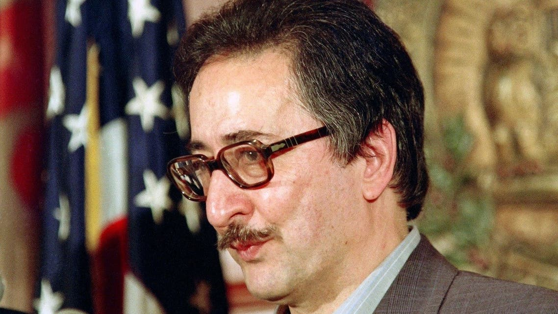 In this file photo taken on May 7, 1991, former President of Iran, Abolhassan Banisadr, speaks at the National Press Club in Washington. (AFP)