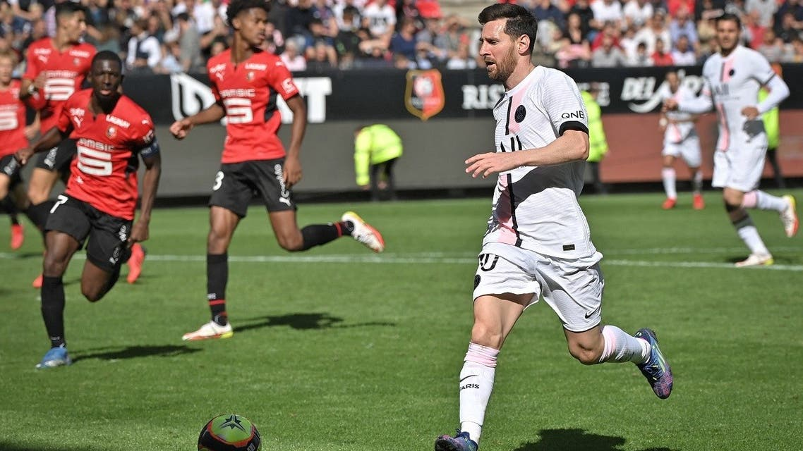 Paris Saint-Germain's Argentinian forward Lionel Messi runs with the ball during the French L1 football match between Stade Rennais (Rennes) and Paris Saint-Germain at the Roazhon Park in Rennes on October 3, 2021. (AFP)