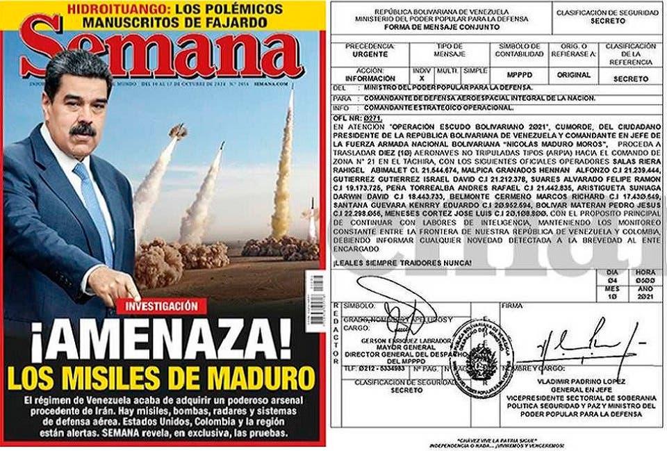 وثيقة عن أمر رئاسي بالتمركز الاستخباراتي الفنزويلي على الحدود مع كولومبيا، وصورة لغلاف المجلة هذا الأسبوع