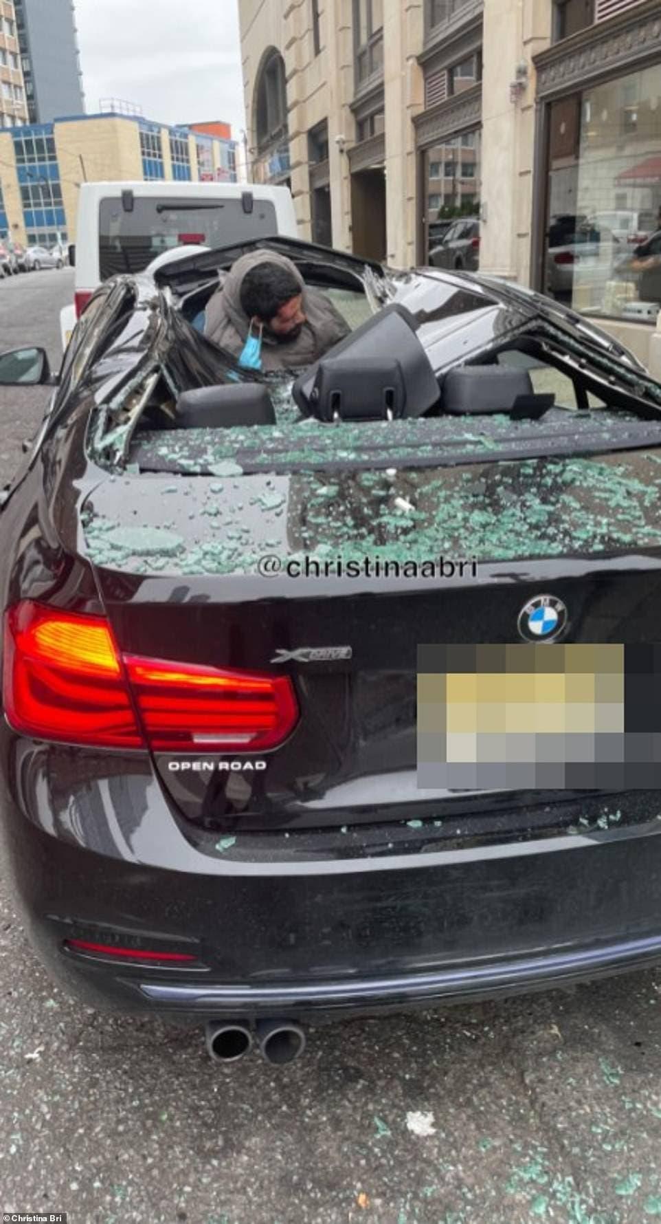 الأميركي المحظوظ بعد سقوطه داخل السيارة