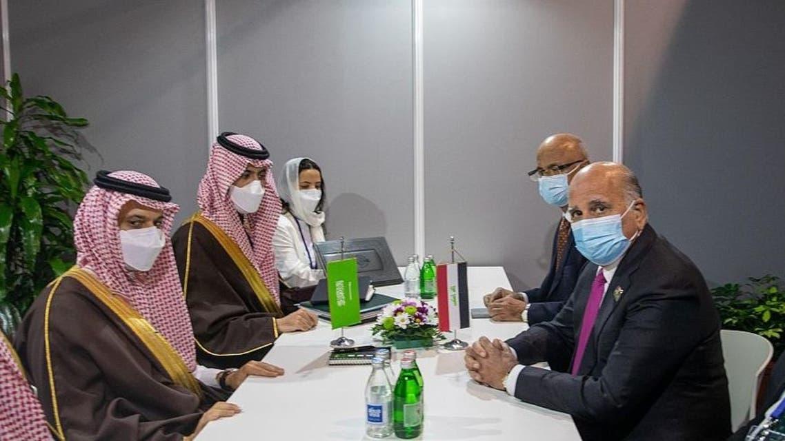 Saudi Arabia's Foreign Minister Prince Faisal bin Farhan meets Iraq's Foreign Minister Fuad Hussein. (SPA)