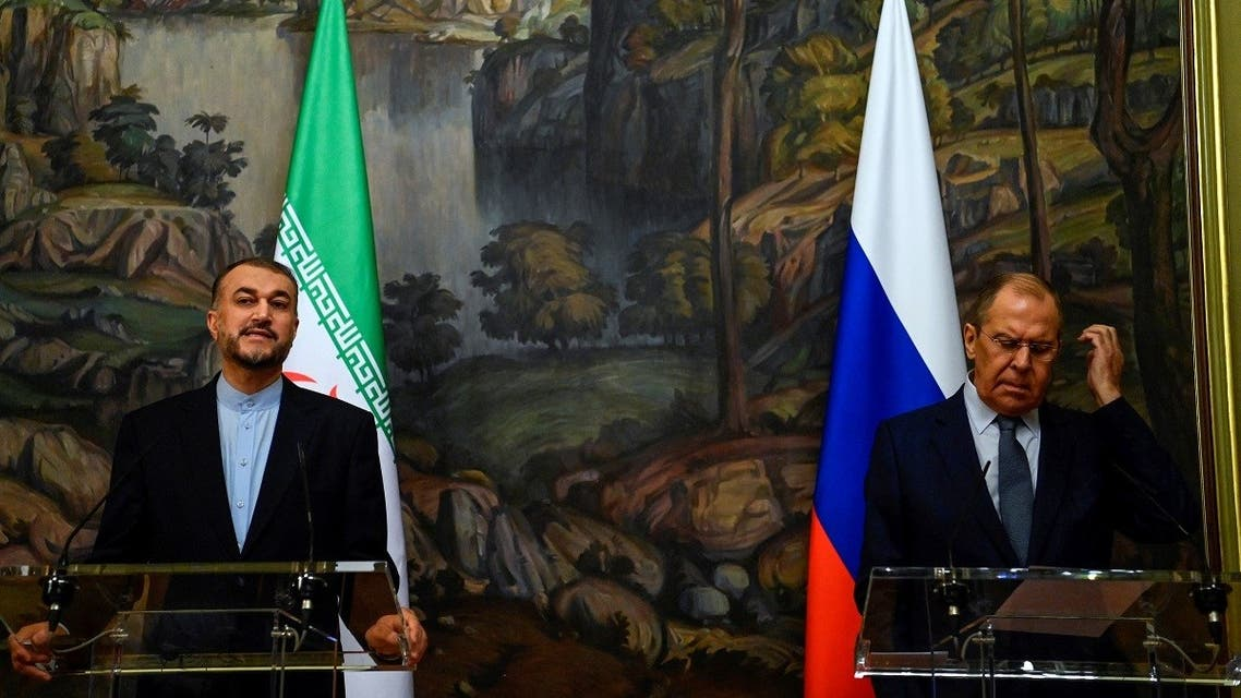 Russian Foreign Minister Sergei Lavrov (R) and his Iranian counterpart Hossein Amir-Abdollahian hold a joint press conference following their meeting in Moscow on October 6, 2021. (AFP)