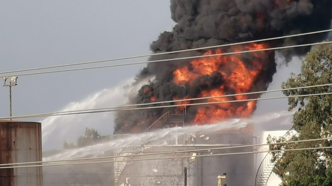 حريق في مصفاة الزهراني جنوب لبنان