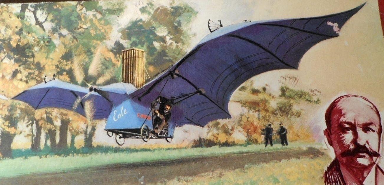 رسم تخيلي يجسد محاولة آدر للطيران