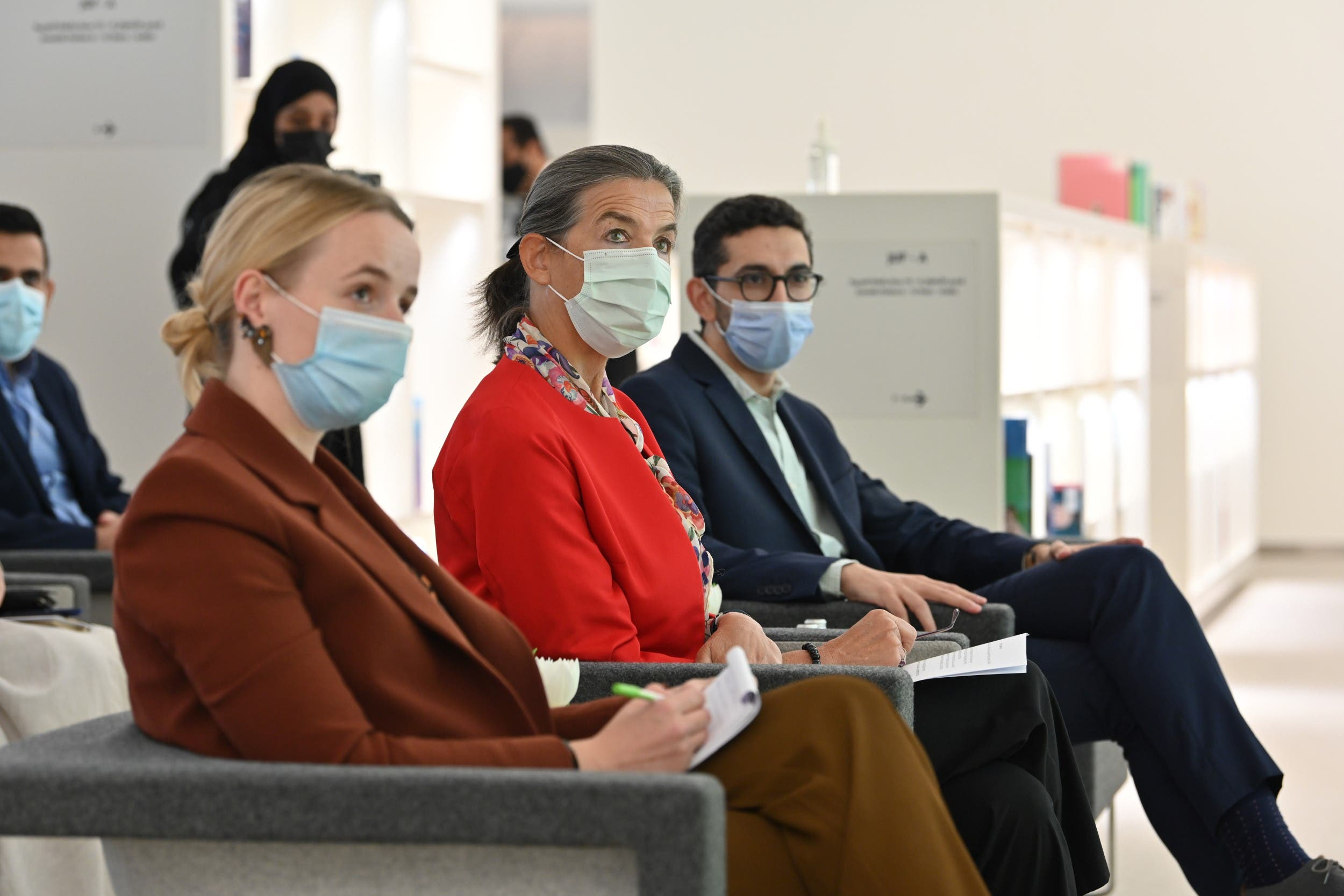 سفيرة بلجيكا في السعودية خلال حفل الافتتاح