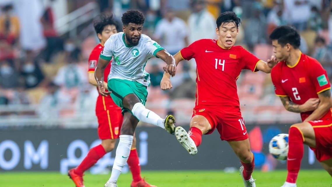 The 2022 Qatar World Cup Qualifier between Saudi Arabia and China, at the King Abdullah Sport City Stadium in Jeddah, Oct. 12, 2021. (AFP)