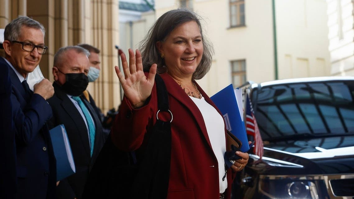 US Under Secretary of State Victoria Nuland at the headquarters of Russia's Foreign Ministry after talks with Russian officials, Oct. 12, 2021. (Reuters)