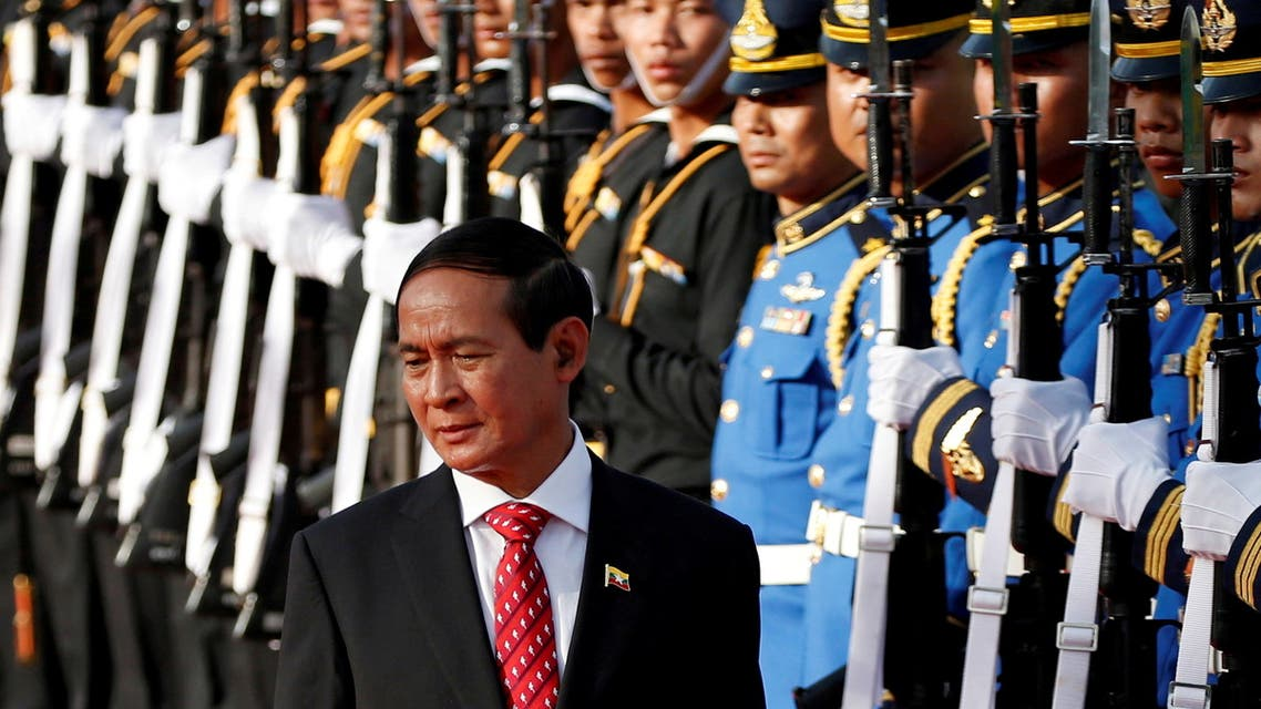 Myanmar's President Win Myint reviews the honor guard during his welcome ceremony at the Government House in Bangkok, Thailand June 14, 2018. (File Photo: Reuters)