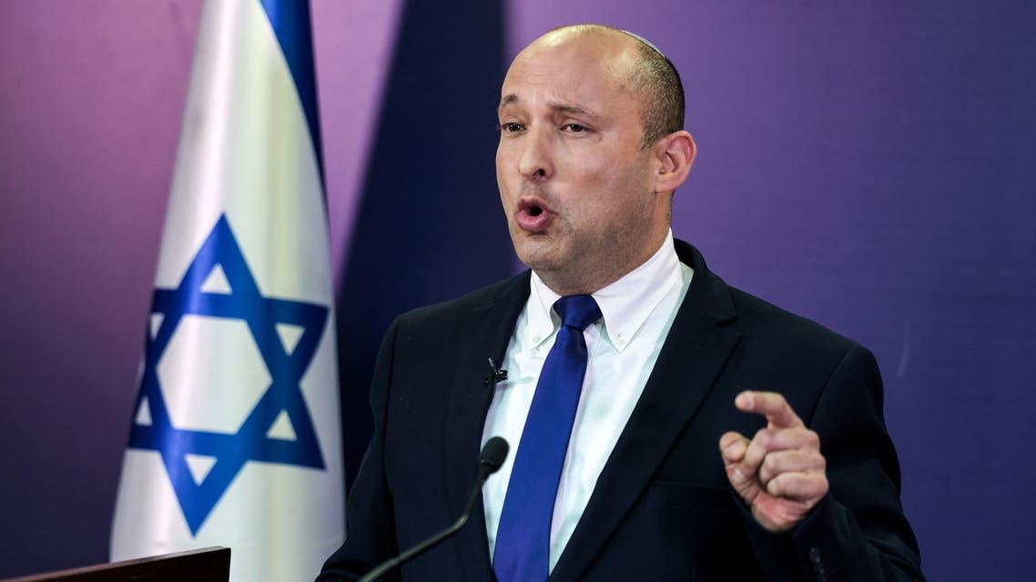 Naftali Bennett, Israeli parliament member from the Yamina party, gives a statement at the Knesset, Israel's parliament, in Jerusalem, June 6, 2021. Menahem Kahana/Pool via REUTERS