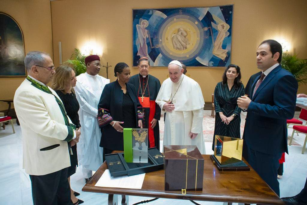 Pope Francis receives the trophy for the Zayed Award for Human Fraternity. (Supplied)
