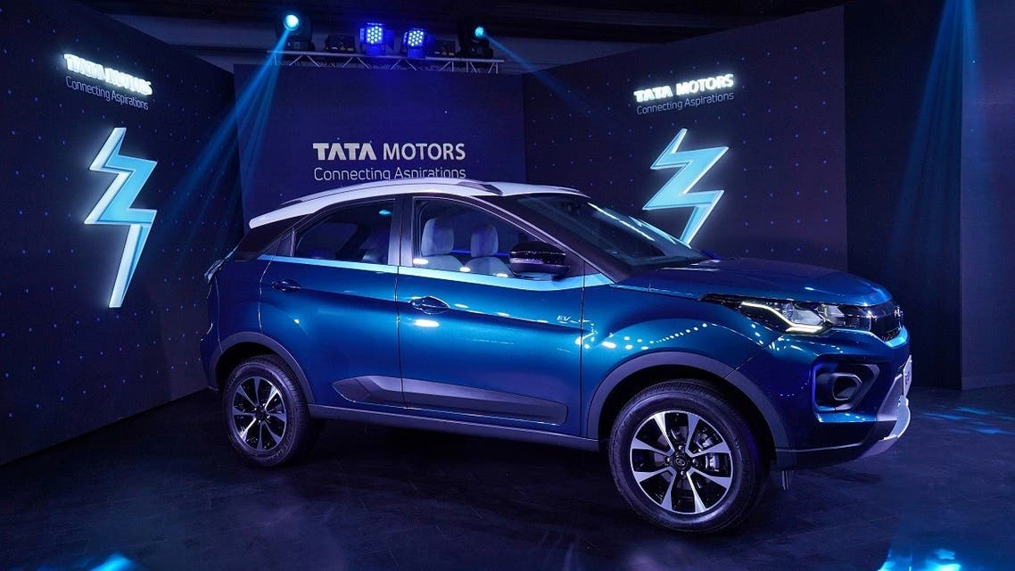 Tata Motors' electric sport-utility vehicle (SUV) Nexon EV is displayed during its launch in Mumbai, India. (Reuters)