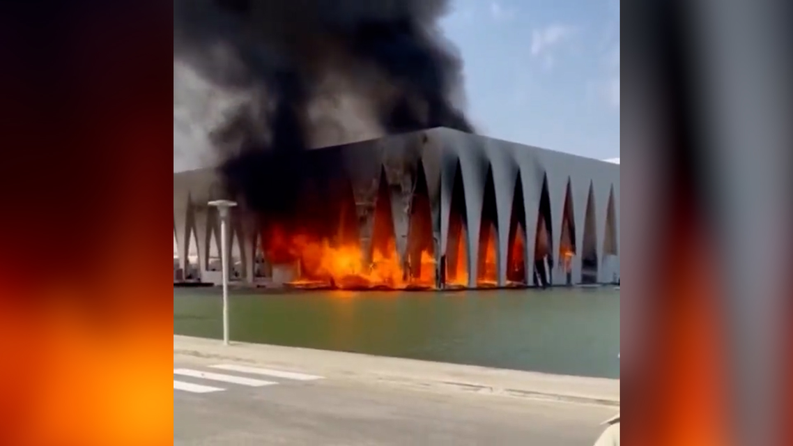 A massive fire has broken out in the main hall of the El Gouna Film Festival site. (Screengrab)