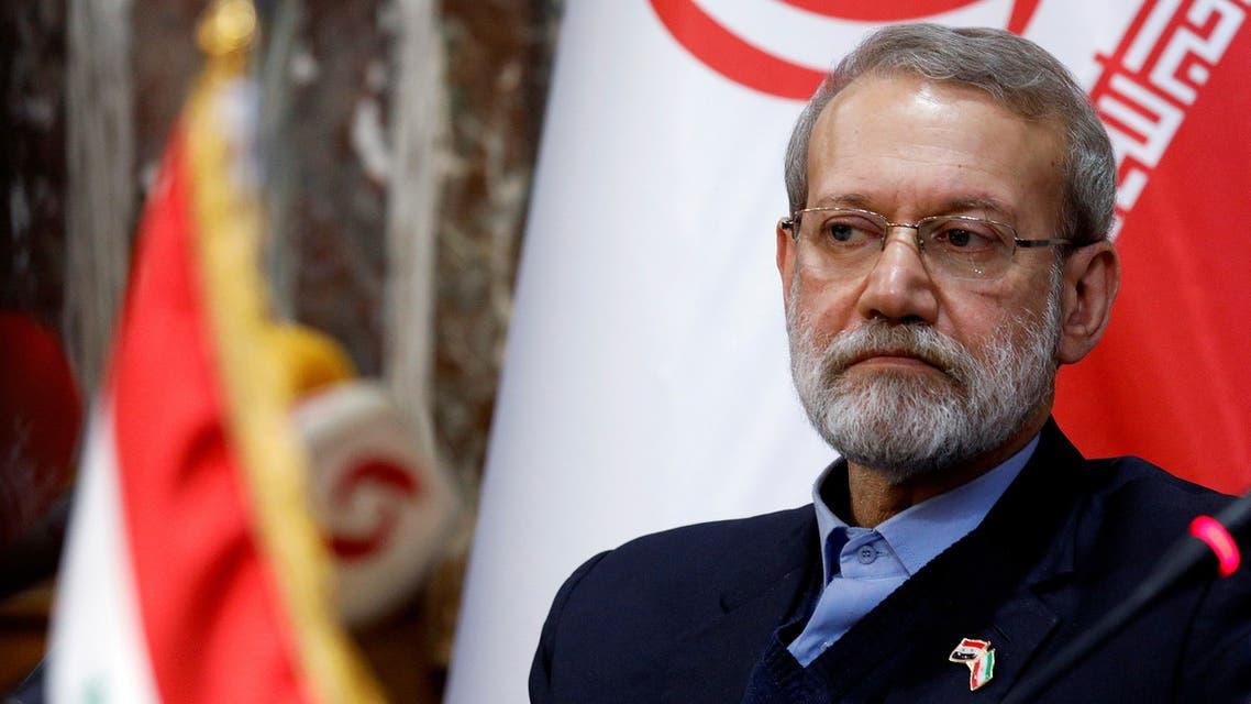 FILE PHOTO: Iranian parliament speaker Ali Larijani attends a news conference in Damascus, Syria February 16, 2020. REUTERS/Omar Sanadiki/File Photo