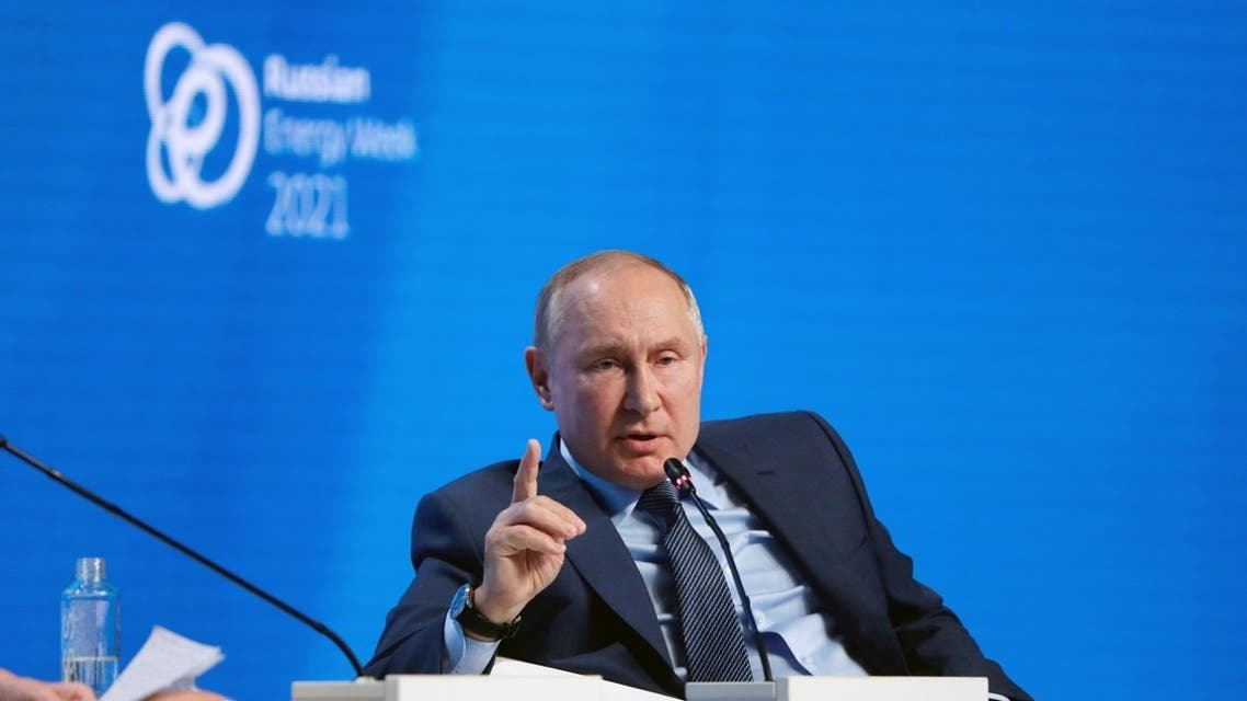Russian President Vladimir Putin speaks during a plenary session of the Russian Energy Week International Forum in Moscow, Russia, on October 13, 2021. (Reuters)