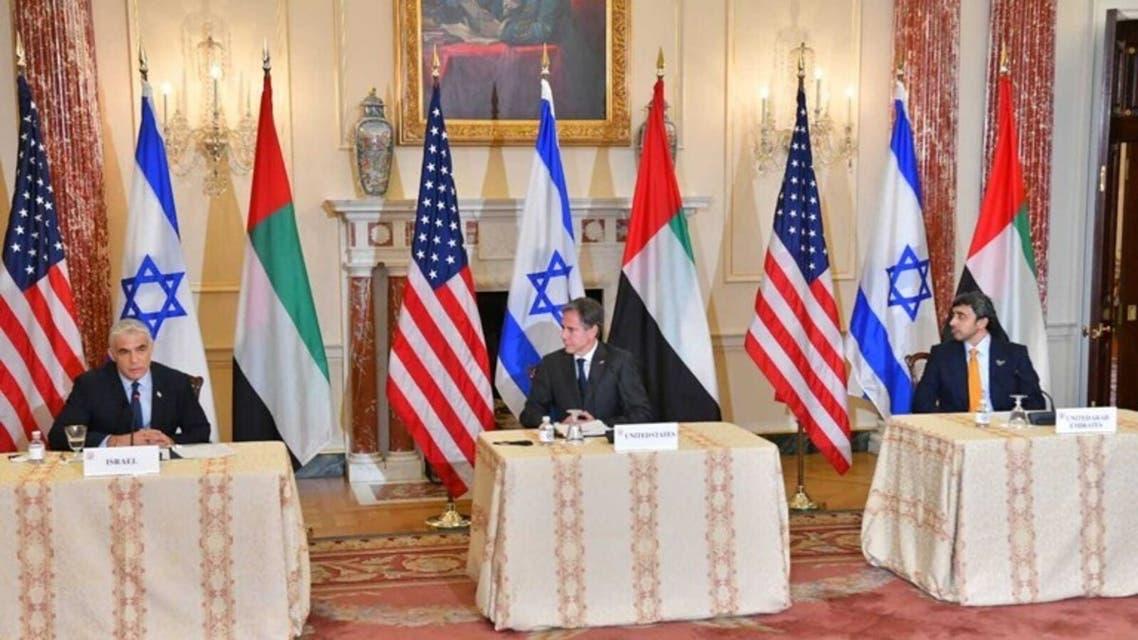 وزاء خارجية الإمارات وأميركا وإسرائيل