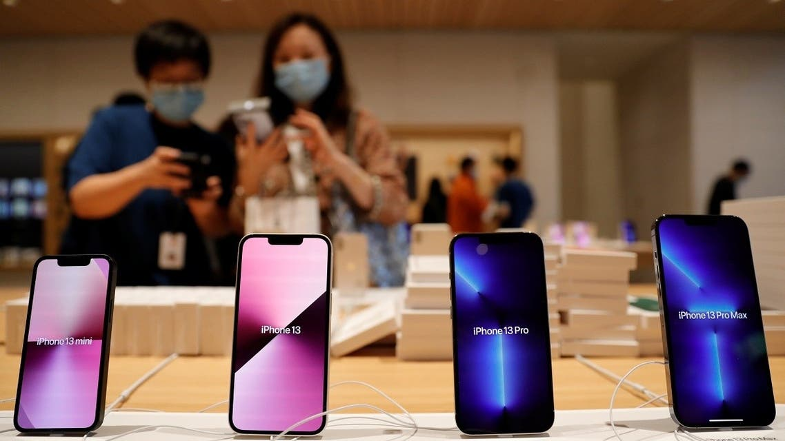 Apple iPhone 13 are pictured at an Apple Store on the day the new Apple iPhone 13 series goes on sale, in Beijing, China, on September 24, 2021. (Reuters)