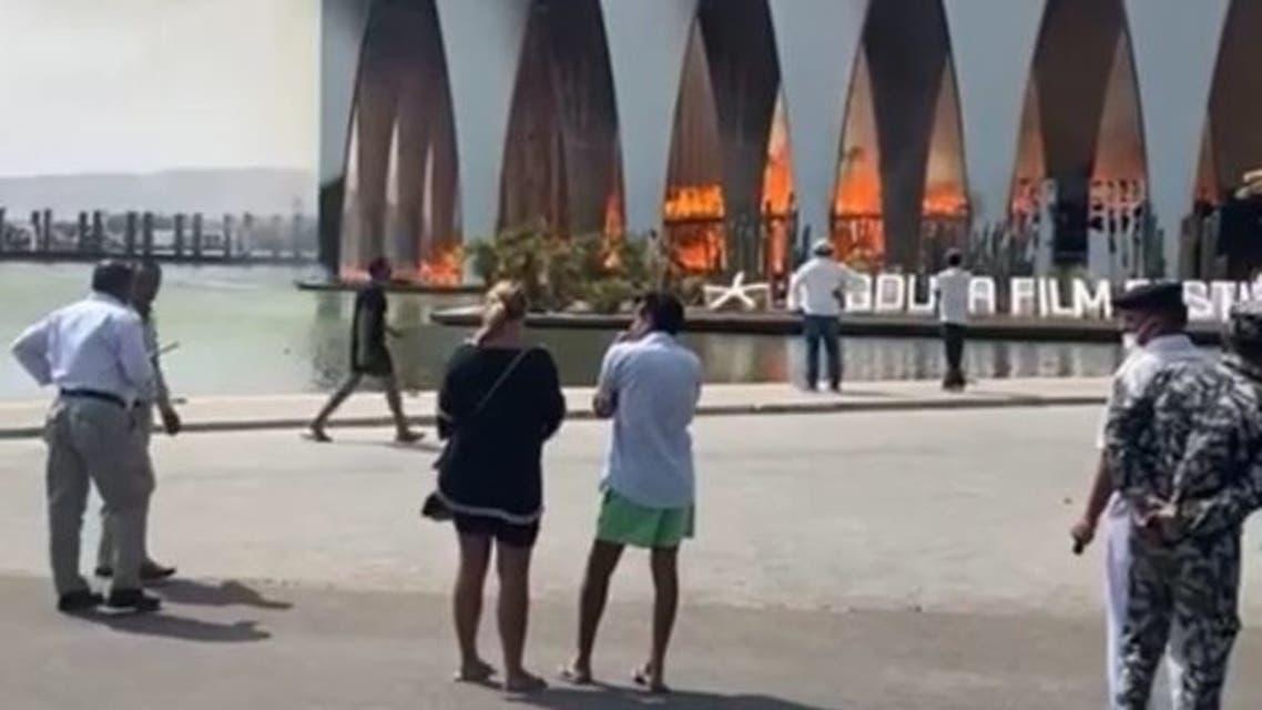 حريق بالقاعة الرئيسية لمهرجان الجونة قبل يوم من الافتتاح