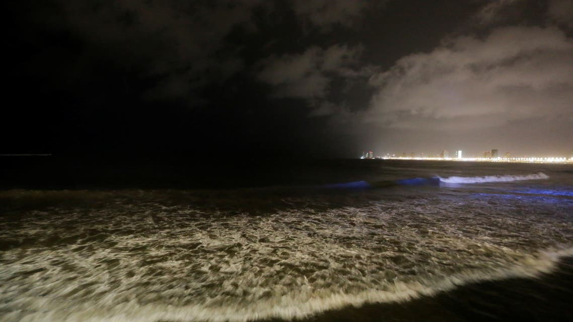 Waves break along the Malecon and the beach as storm Pamela approaches the Pacific coast resort, in Mazatlan, Mexico October 12, 2021. (Reuters)