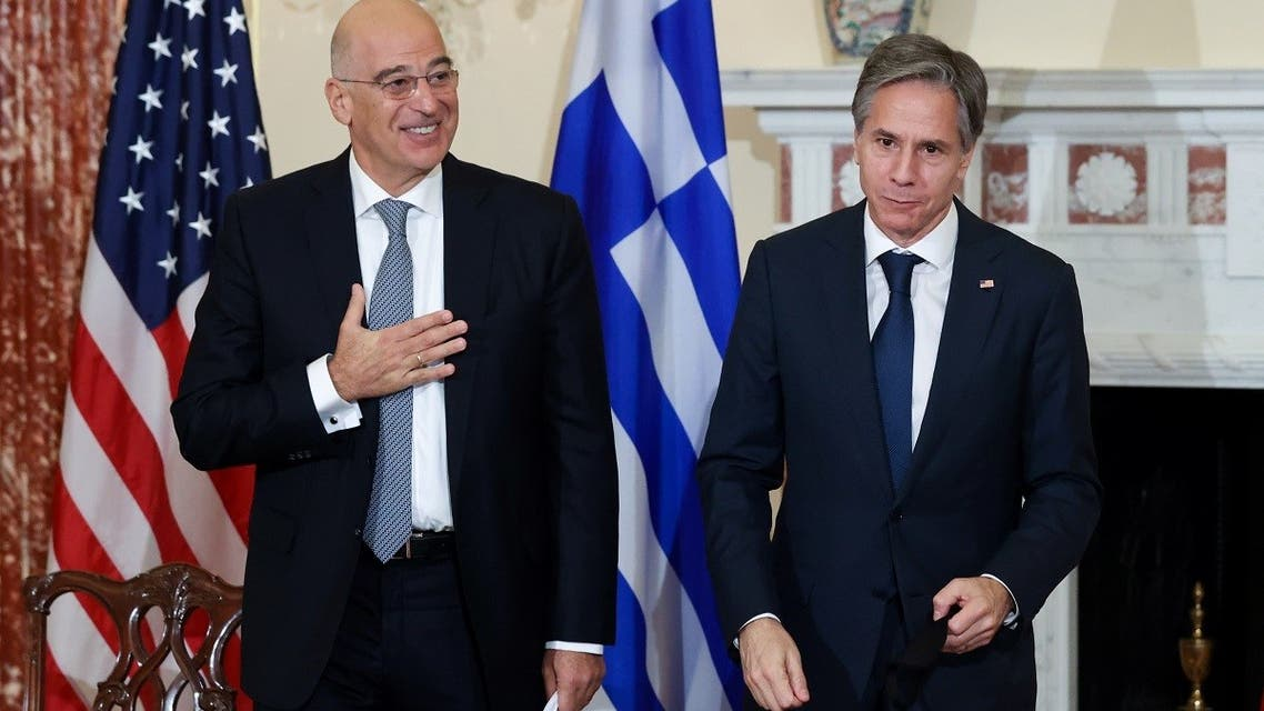 US Secretary of State Antony Blinken and Greece's Foreign Minister Nikos Dendias after signing the renewal of the US-Greece Mutual Defense Cooperation Agreement, Oct. 14, 2021. (Reuters)