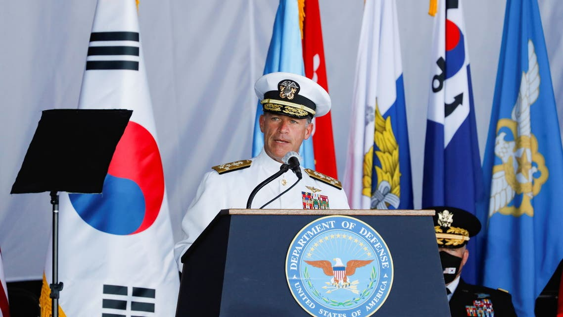 US Admiral John C. Aquilino speaks at the first joint repatriation ceremony for Korean War remains at Joint Base Pearl Harbor-Hickam near Honolulu, Hawaii, U.S. September 22, 2021. (Reuters)
