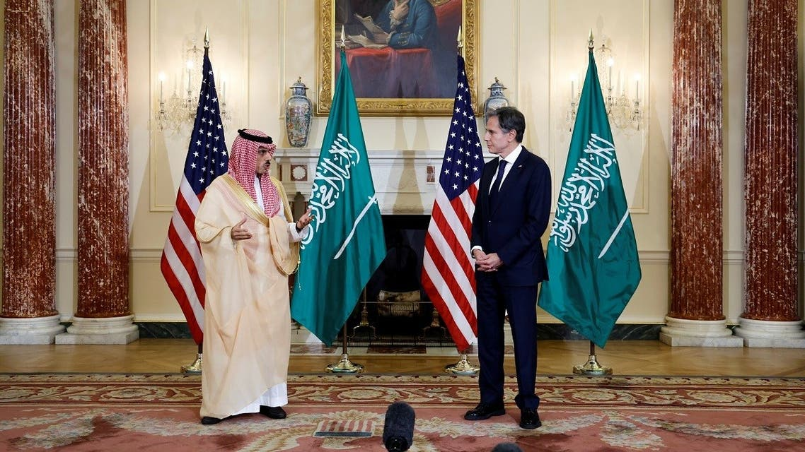US Secretary of State Antony Blinken and Saudi Arabia's Foreign Minister Prince Faisal bin Farhan at the State Department, Oct.14, 2021. (Reuters)