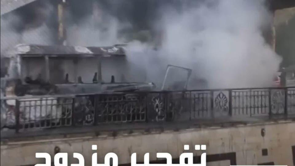 14 قتيلا في انفجار عبوتين ناسفتين بحافلة عسكرية في دمشق