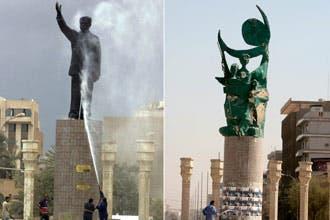 عراقي شارك في ضرب تمثال صدام حسين بالأمس يتمنى تقبيله اليوم