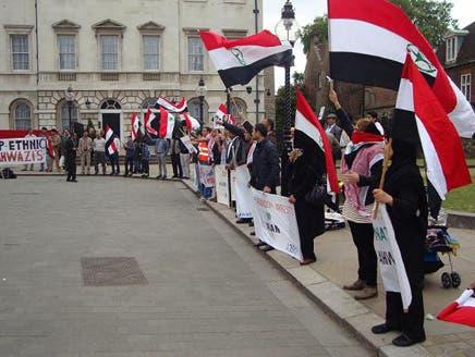 مظاهرات للجالية الأهوازية أمام البرلمان البريطاني تنديداً بالإعدامات الأخيرة