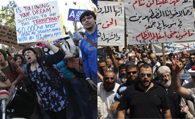 Is the Wall Street action linked to the Arab Spring?
