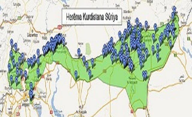 Map of 'Syrian Kurdistan' releases cautiously marked borders
